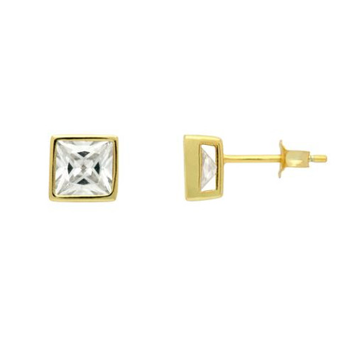 GOLD PLATED 7MM SQUARE BEZEL SET CZ STUD EARRINGS
