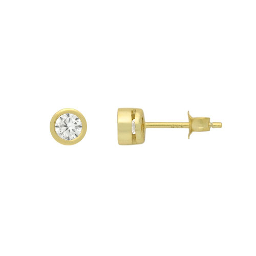 GOLD PLATED 5MM ROUND BEZEL SET CZ STUD EARRING