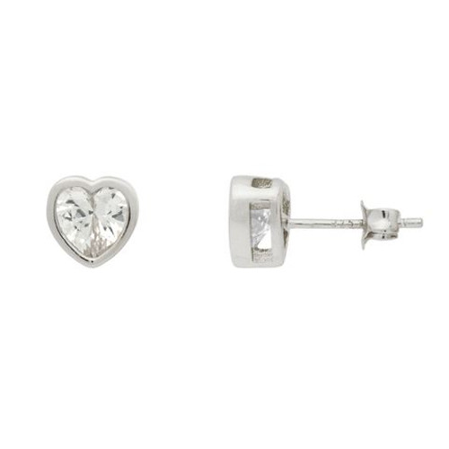 RHODIUM PLATED 7MM HEART BEZEL SET CZ STUD EARRINGS