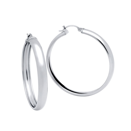 RHODIUM PLATED 45MM LIGHTWEIGHT HOOP EARRINGS