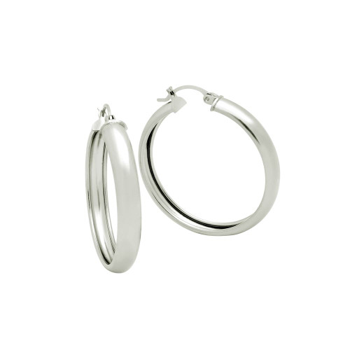 STERLING SILVER 36MM LIGHTWEIGHT HOOP EARRINGS