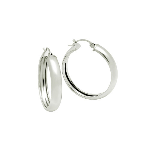 STERLING SILVER 31MM LIGHTWEIGHT HOOP EARRINGS