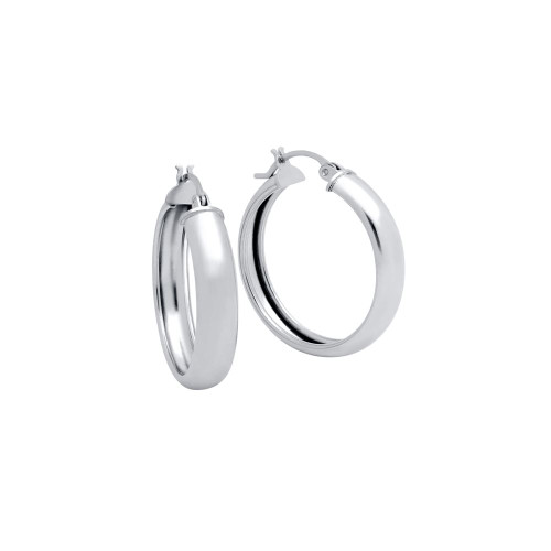 RHODIUM PLATED 28MM LIGHTWEIGHT HOOP EARRINGS