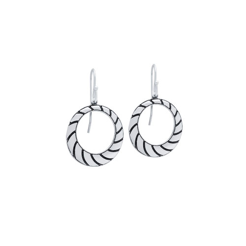 STERLING SILVER STRIPED CIRCLE FISHHOOK EARRINGS