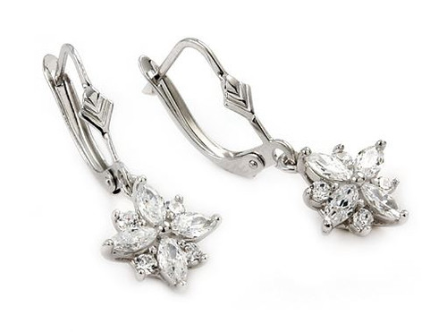 ROUND AND MARQUISE CZ FLOWER EARRINGS