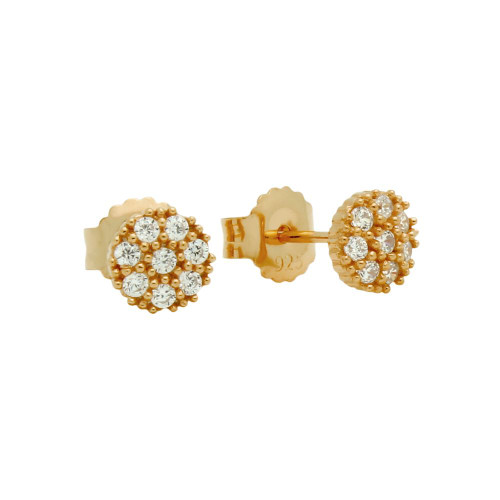 ROSE GOLD PLATED PAVE CZ ROUND POST EARRINGS