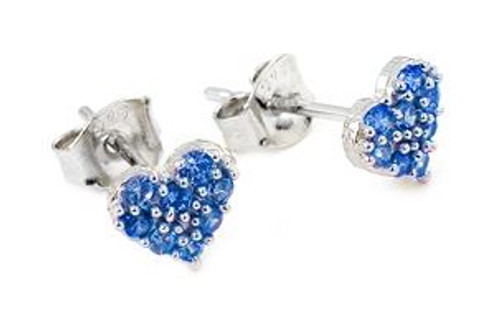 PAVE CZ BLUE HEART POST EARRINGS