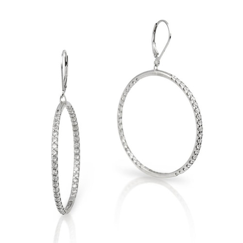 RHODIUM PLATED INSIDE OUTSIDE CZ EARRINGS