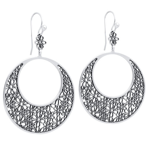 STERLING SILVER 39MM ROUND FLOWER FILIGREE FISHHOOK EARRINGS