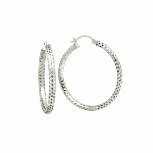 STERLING SILVER 3x47MM LIGHTWEIGHT MESH TUBE HOOP EARRINGS