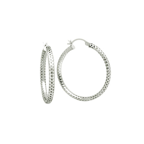 STERLING SILVER 3x36MM LIGHTWEIGHT MESH TUBE HOOP EARRINGS