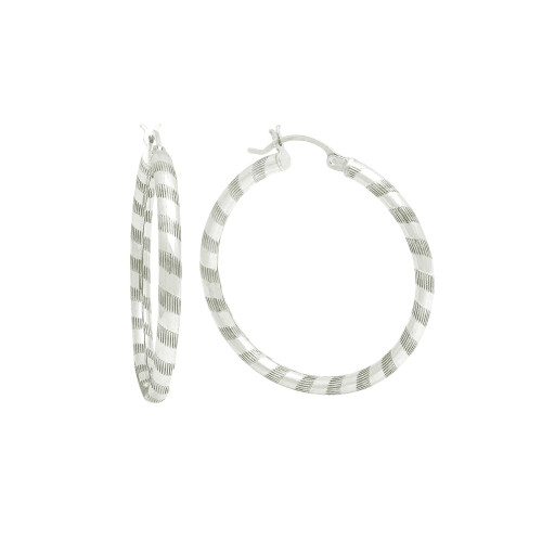 STERLING SILVER 3X37MM LIGHTWEIGHT STRIPED TUBE HOOP EARRINGS
