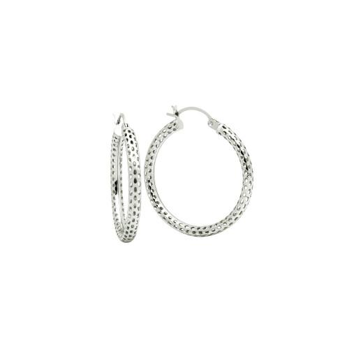 STERLING SILVER 3x31MM LIGHTWEIGHT MESH TUBE HOOP EARRINGS