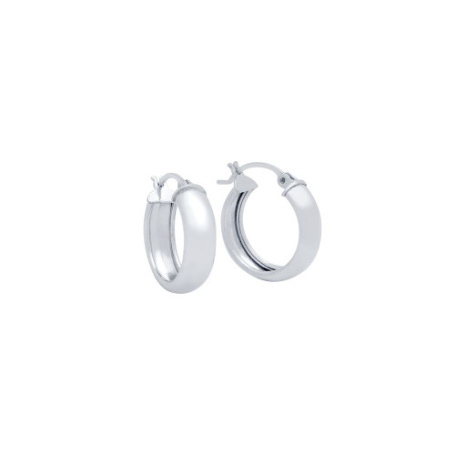 RHODIUM PLATED 19MM LIGHTWEIGHT HOOP EARRINGS