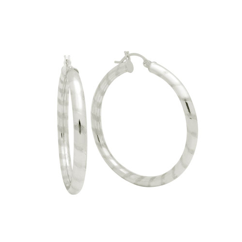 STERLING SILVER 4X41MM LIGHTWEIGHT STRIPED TUBE HOOP EARRINGS