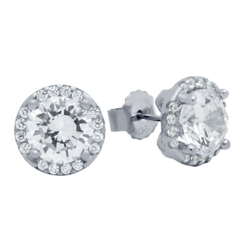RHODIUM PLATED 7.5MM ROUND CZ EARRINGS WITH ALL AROUND CZ STONES
