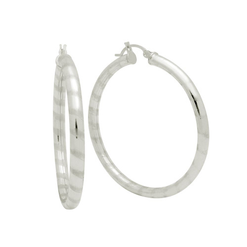 STERLING SILVER 4X46MM LIGHTWEIGHT STRIPED TUBE HOOP EARRINGS