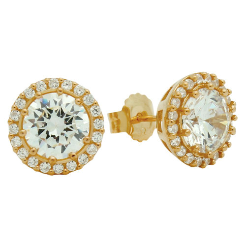 ROSE GOLD PLATED ROUND CZ POST EARRINGS