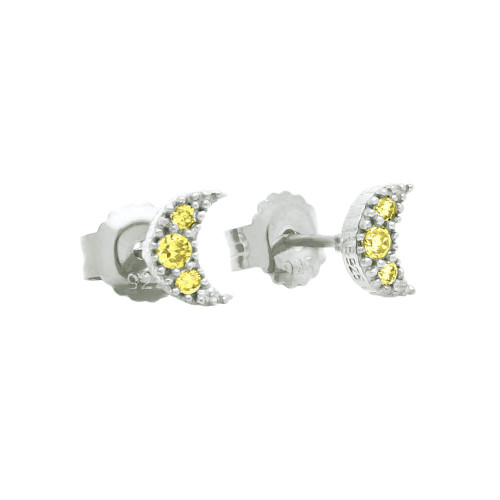 PAVE YELLOW CZ MOON POST EARRINGS