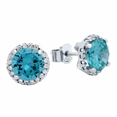 RHODIUM PLATED 7.5MM LIGHT BLUE ROUND CZ STUD EARRINGS WITH ALL AROUND CLEAR CZ STONES
