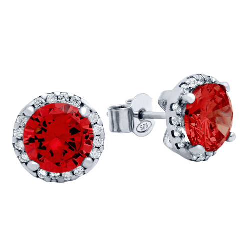 RHODIUM PLATED 7.5MM RED ROUND CZ STUD EARRINGS WITH ALL AROUND CLEAR CZ STONES