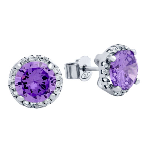 RHODIUM PLATED 7.5MM PURPLE ROUND CZ STUD EARRINGS WITH ALL AROUND CLEAR CZ STONES