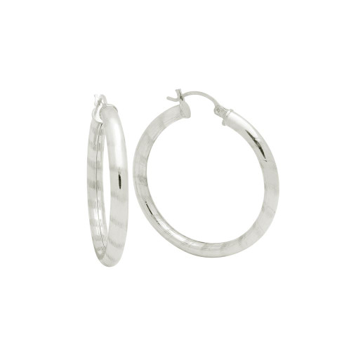 STERLING SILVER 4X37MM LIGHTWEIGHT STRIPED TUBE HOOP EARRINGS