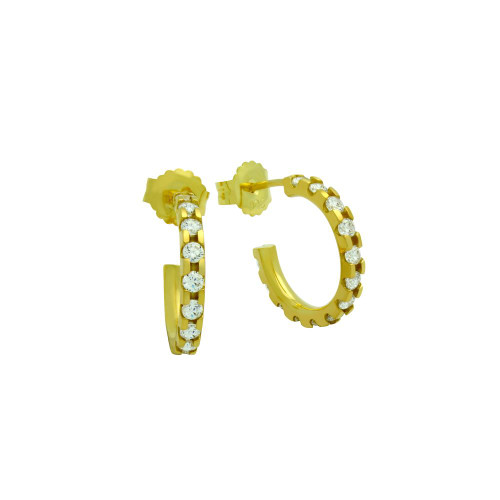15 MM GOLD PLATED SMALL ETERNITY CZ EARRINGS