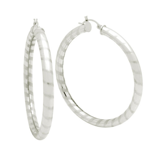 STERLING SILVER 5X55MM LIGHTWEIGHT STRIPED TUBE HOOP EARRINGS