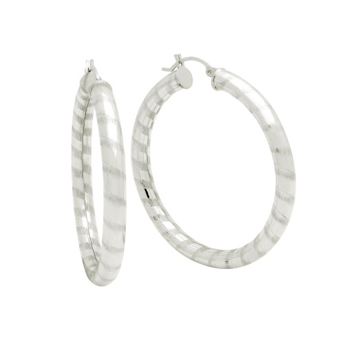 STERLING SILVER 5X46MM LIGHTWEIGHT STRIPED TUBE HOOP EARRINGS