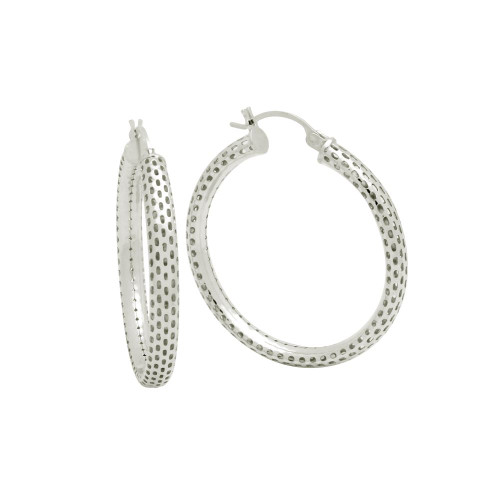 STERLING SILVER 4x36MM LIGHTWEIGHT MESH TUBE HOOP EARRINGS