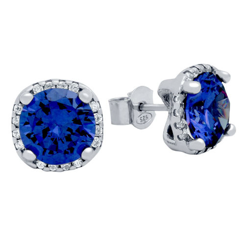 RHODIUM PLATED BLUE SQUARE SHAPE 9MM ROUND CZ EARRINGS WITH ALL AROUND CLEAR CZ STONES