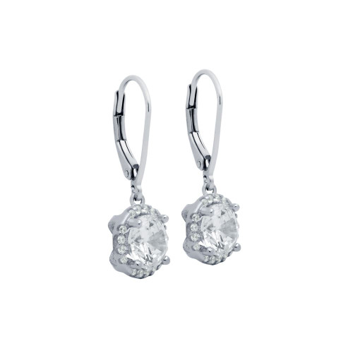 RHODIUM PLATED LARGE ROUND CZ EARRINGS WITH ALL AROUND SMALL CZ STONES