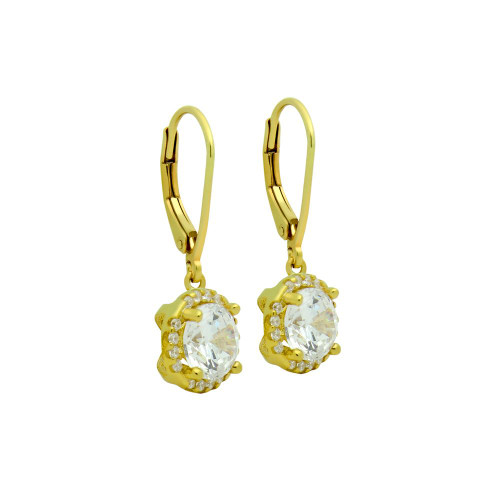 GOLD PLATED LARGE ROUND CZ EARRINGS WITH ALL AROUND SMALL CZ STONES