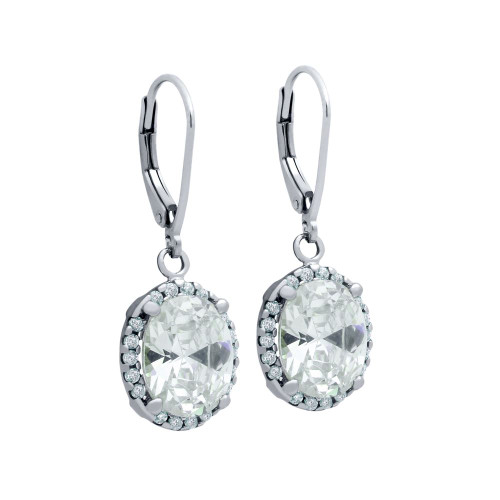 RHODIUM PLATED OVAL CZ DANGLING EARRINGS