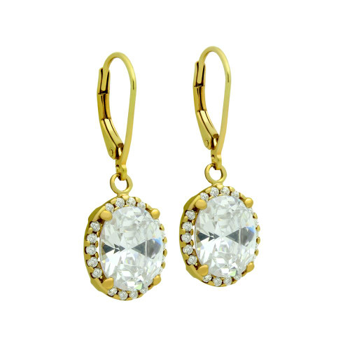GOLD PLATED OVAL CZ DANGLING EARRINGS