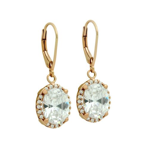 ROSE GOLD PLATED OVAL CZ DANGLING EARRINGS