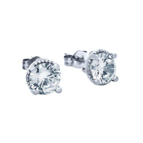 RHODIUM PLATED ROUND CZ STUD EARRINGS