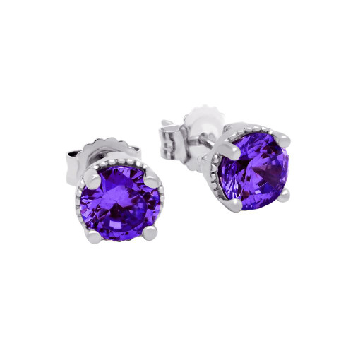 RHODIUM PLATED FEBRUARY BIRTHSTONE AMETHYST PURPLE ROUND CZ STUD EARRINGS