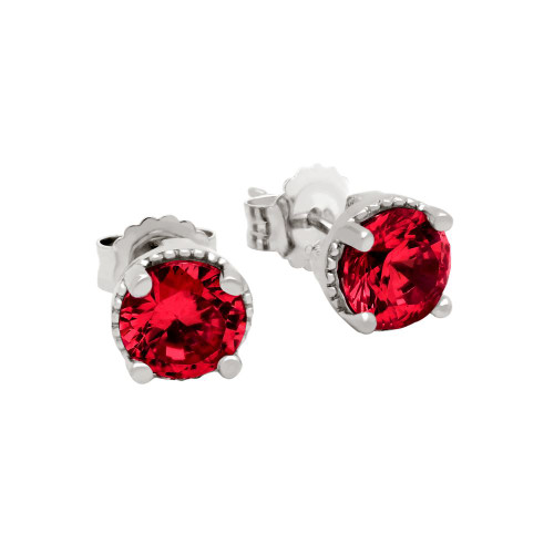 RHODIUM PLATED JANUARY BIRTHSTONE GARNET RED ROUND CZ STUD EARRINGS