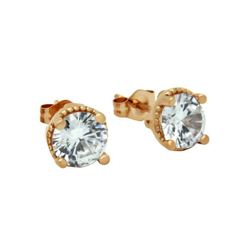 ROSE GOLD PLATED ROUND CZ STUD EARRINGS