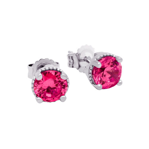RHODIUM PLATED JULY BIRTHSTONE RUBY RED ROUND CZ STUD EARRINGS