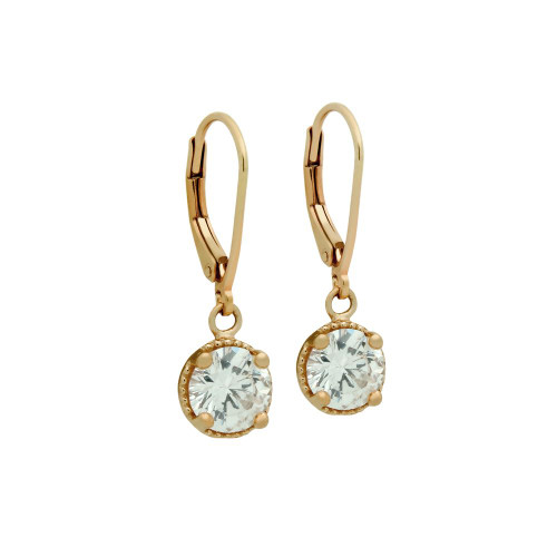 ROSE GOLD PLATED ROUND CZ LEVERBACK EARRINGS