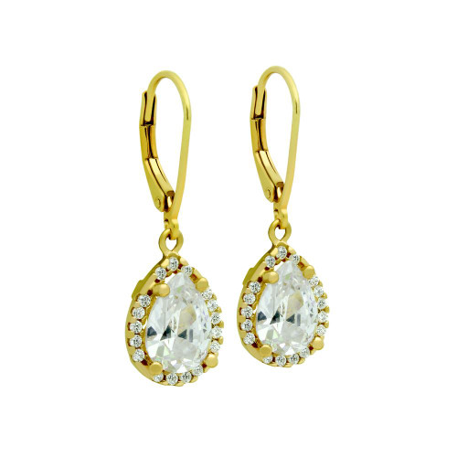 GOLD PLATED TEARDROP CZ LEVERBACK EARRINGS WITH ALL AROUND SMALL CZ STONES