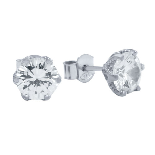 RHODIUM PLATED FLORAL DESIGN CZ STUD EARRINGS