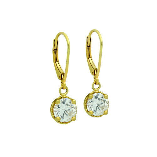 GOLD PLATED ROUND CZ LEVERBACK EARRINGS