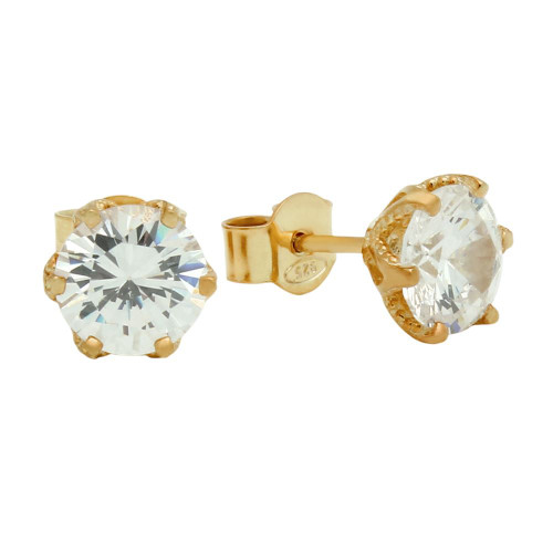 ROSE GOLD PLATED FLORAL DESIGN CZ STUD EARRINGS