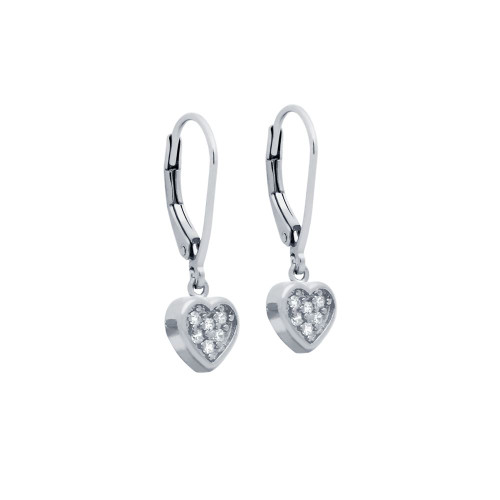RHODIUM PLATED HEART CZ CLUSTER LEVERBACK DANGLE EARRINGS