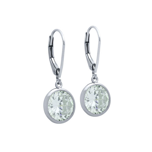 10MM RHODIUM ROUND BEZEL SET CZ STUD EARRING