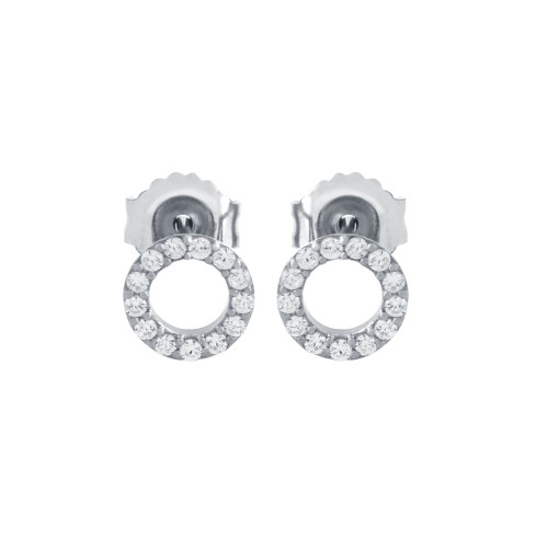 RHODIUM PLATED 7MM CZ ETERNITY CIRCLE STUD EARRINGS